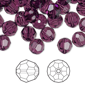 bead, swarovski crystals, amethyst, 8mm faceted round (5000). sold per pkg of 144 (1 gross).