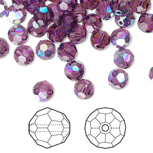 bead, swarovski crystals, amethyst ab, 6mm faceted round (5000). sold per pkg of 360.