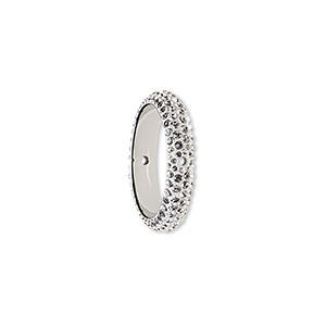 bead, swarovski crystals and epoxy, crystal clear and white, 18.5mm double-drilled pave thread ring (85001). sold per pkg of 6.
