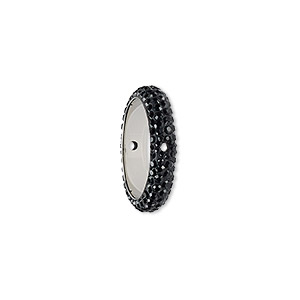 bead, swarovski crystals and epoxy, crystal passions, jet and black, 16.5mm double-drilled pave thread ring (85001). sold individually.