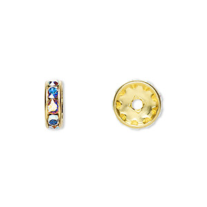 bead, swarovski crystals and gold-plated brass, crystal ab, 10x3.5mm rondelle (77510). sold per pkg of 48.