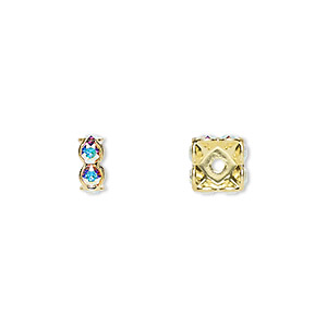 bead, swarovski crystals and gold-plated brass, crystal ab, 8x3.5mm square rondelle (77608). sold per pkg of 4.