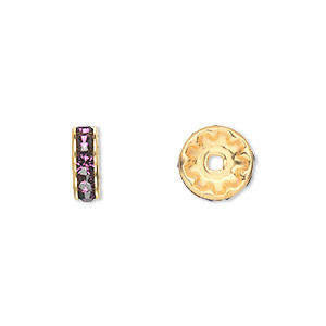bead, swarovski crystals and gold-plated brass, crystal passions, amethyst, 10x3.5mm rondelle (77510). sold per pkg of 144 (1 gross).