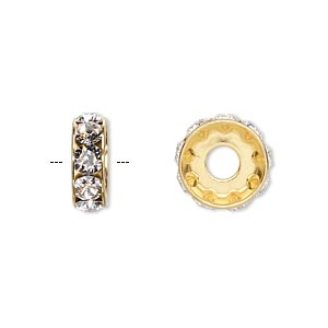 bead, swarovski crystals and gold-plated brass, crystal passions, crystal clear, 12x4.5mm becharmed rondelle with 4mm hole. sold per pkg of 48.