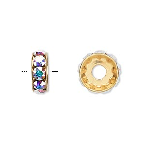 bead, swarovski crystals and gold-plated brass, crystal passions, crystal ab, 12x4.5mm becharmed rondelle with 4mm hole. sold per pkg of 48.
