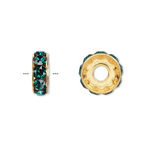 bead, swarovski crystals and gold-plated brass, crystal passions, emerald, 12x4.5mm becharmed rondelle with 4mm hole. sold per pkg of 48.