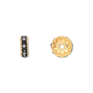 bead, swarovski crystals and gold-plated brass, crystal passions, jet, 10x3.5mm rondelle (77510). sold per pkg of 48.