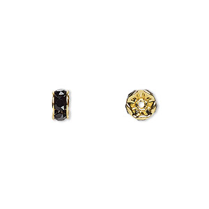 bead, swarovski crystals and gold-plated brass, crystal passions, jet, 6x3.5mm rondelle (77506). sold per pkg of 48.