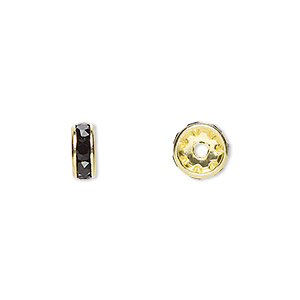 bead, swarovski crystals and gold-plated brass, crystal passions, jet, 8x3.5mm rondelle (77508). sold per pkg of 144 (1 gross).