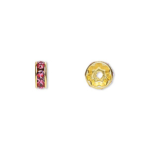 bead, swarovski crystals and gold-plated brass, crystal passions, rose, 8x3.5mm rondelle (77508). sold per pkg of 4.