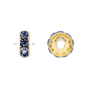 bead, swarovski crystals and gold-plated brass, crystal passions, sapphire, 12x4.5mm becharmed rondelle with 4mm hole. sold per pkg of 4.