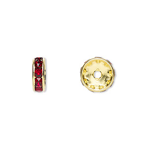 bead, swarovski crystals and gold-plated brass, crystal passions, siam, 10x3.5mm rondelle (77510). sold per pkg of 4.