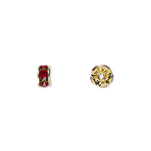 bead, swarovski crystals and gold-plated brass, crystal passions, siam, 6x3.5mm rondelle (77506). sold per pkg of 144 (1 gross).