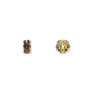bead, swarovski crystals and gold-plated brass, crystal passions, smoked topaz, 6x3.5mm rondelle (77506). sold per pkg of 4.