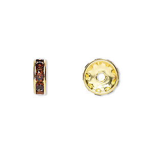 bead, swarovski crystals and gold-plated brass, crystal passions, smoked topaz, 10x3.5mm rondelle (77510). sold per pkg of 48.
