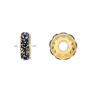 bead, swarovski crystals and gold-plated brass, denim blue, 12x4.5mm becharmed rondelle with 4mm hole. sold per pkg of 144 (1 gross).