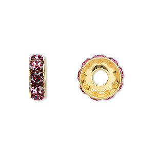 bead, swarovski crystals and gold-plated brass, rose, 12x4.5mm becharmed rondelle with 4mm hole. sold per pkg of 144 (1 gross).