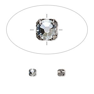 bead, swarovski crystals and gunmetal-plated pewter (tin-based alloy), crystal passions, crystal blue shade, 3-3.2mm rose montees with 0.4-0.6mm hole (53100), ss12. sold per pkg of 24.