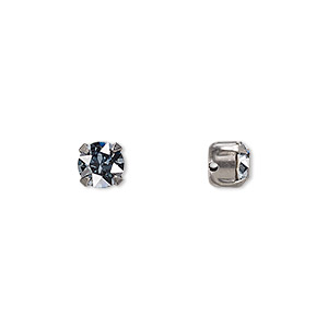 bead, swarovski crystals and gunmetal-plated pewter (tin-based alloy), crystal blue shade, 6.14-6.32mm chaton montees with 0.95mm hole (53203), ss29. sold per pkg of 720 (5 gross).
