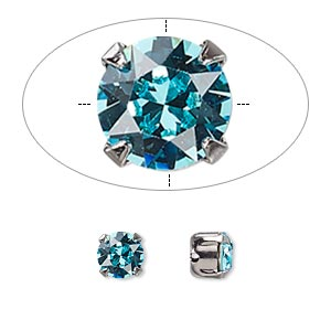 bead, swarovski crystals and gunmetal-plated pewter (tin-based alloy), crystal passions, light turquoise, 6.14-6.32mm chaton montees with 0.95mm hole (53203), ss29. sold per pkg of 24.