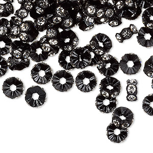 bead, swarovski crystals and plastic, crystal clear and black, 6x3mm mini rondelle. sold per pkg of 1,440 (10 gross).