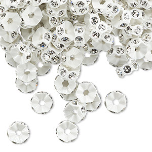 bead, swarovski crystals and plastic, crystal clear and white, 6x3mm mini rondelle. sold per pkg of 1,440 (10 gross).