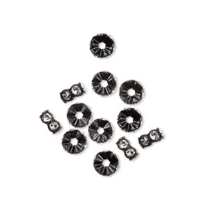 bead, swarovski crystals and plastic, crystal passions, crystal clear and black, 5x2.5mm mini rondelle. sold per pkg of 12.