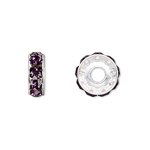 bead, swarovski crystals and rhodium-plated brass, amethyst, 12x4.5mm becharmed rondelle with 4mm hole (77512). sold per pkg of 144 (1 gross).