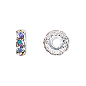 bead, swarovski crystals and rhodium-plated brass, crystal ab, 12x4.5mm becharmed rondelle with 4mm hole (77512). sold per pkg of 144 (1 gross).