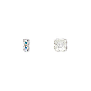 bead, swarovski crystals and rhodium-plated brass, crystal passions, crystal ab, 6x3.5mm square rondelle (77606). sold per pkg of 48.