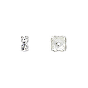 bead, swarovski crystals and rhodium-plated brass, crystal passions, crystal clear, 8x3.5mm square rondelle (77608). sold per pkg of 48.