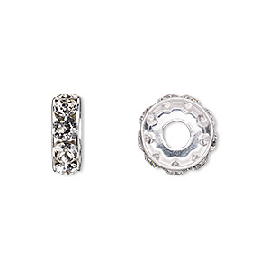 bead, swarovski crystals and rhodium-plated brass, crystal passions, crystal clear, 12x4.5mm becharmed rondelle with 4mm hole (77512). sold per pkg of 4.