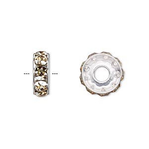 bead, swarovski crystals and rhodium-plated brass, crystal passions, crystal golden shadow, 12x4.5mm becharmed rondelle with 4mm hole. sold per pkg of 48.