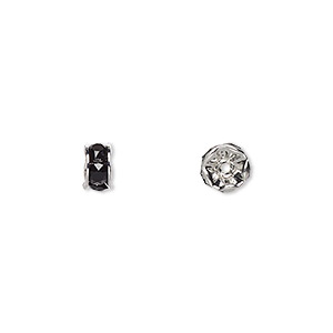 bead, swarovski crystals and rhodium-plated brass, crystal passions, jet, 6x3.5mm rondelle (77506). sold per pkg of 144 (1 gross).