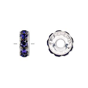 bead, swarovski crystals and rhodium-plated brass, crystal passions, purple velvet, 12x4.5mm becharmed rondelle with 4mm hole (77512). sold per pkg of 4.