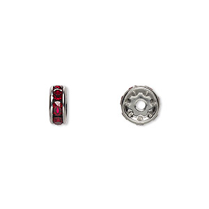 bead, swarovski crystals and rhodium-plated brass, crystal passions, siam, 8x3.5mm rondelle (77508). sold per pkg of 48.