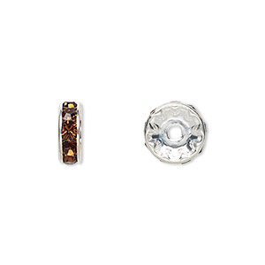 bead, swarovski crystals and rhodium-plated brass, crystal passions, smoked topaz, 10x3.5mm rondelle (77510). sold per pkg of 144 (1 gross).