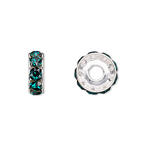 bead, swarovski crystals and rhodium-plated brass, emerald, 12x4.5mm becharmed rondelle with 4mm hole (77512). sold per pkg of 144 (1 gross).