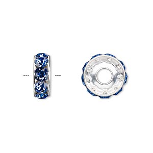 bead, swarovski crystals and rhodium-plated brass, sapphire, 12x4.5mm becharmed rondelle with 4mm hole (77512). sold per pkg of 144 (1 gross).
