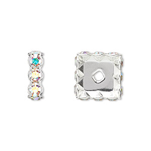 bead, swarovski crystals and silver-plated brass, crystal ab, 12x4.5mm square rondelle (77612). sold per pkg of 48.
