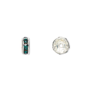 bead, swarovski crystals and silver-plated brass, crystal passions, emerald, 8x3.5mm rondelle (77508). sold per pkg of 4.