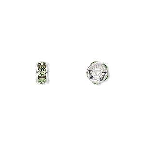 bead, swarovski crystals and silver-plated brass, crystal passions, peridot, 6x3.5mm rondelle (77506). sold per pkg of 144 (1 gross).