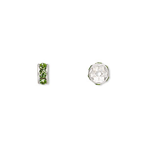 bead, swarovski crystals and silver-plated brass, crystal passions, peridot, 6x3.5mm rondelle (77506). sold per pkg of 48.