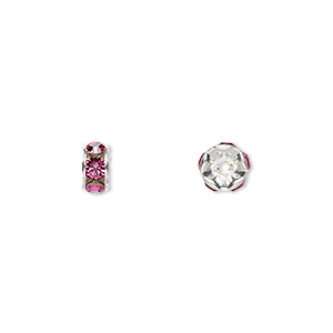 bead, swarovski crystals and silver-plated brass, crystal passions, rose, 6x3.5mm rondelle (77506). sold per pkg of 4.