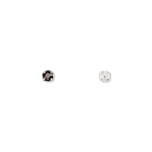 bead, swarovski crystals and silver-plated pewter (tin-based alloy), crystal passions, jet, 3-3.2mm rose montees with 0.4-0.6mm hole (53100), ss12. sold per pkg of 24.