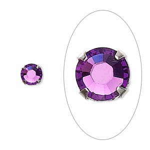 bead, swarovski crystals and silver-plated pewter (tin-based alloy), crystal passions, amethyst, 6.32-6.5mm rose montees (53103), ss30. sold per pkg of 24.