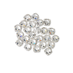 bead, swarovski crystals and silver-plated pewter (tin-based alloy), crystal clear, 3.8-4mm rose montees with 0.75-0.85mm hole (53102), ss16. sold per pkg of 1,440 (10 gross).