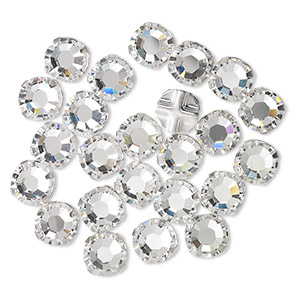 bead, swarovski crystals and silver-plated pewter (tin-based alloy), crystal clear, 6.32-6.5mm rose montees (53103), ss30. sold per pkg of 720 (5 gross).
