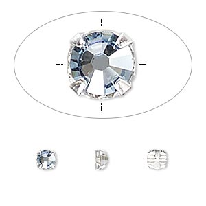 bead, swarovski crystals and silver-plated pewter (tin-based alloy), crystal blue shade, 3.8-4mm rose montees with 0.75-0.85mm hole (53102), ss16. sold per pkg of 1,440 (10 gross).