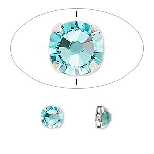 bead, swarovski crystals and silver-plated pewter (tin-based alloy), crystal passions, light turquoise, 6.32-6.5mm rose montees, ss30. sold per pkg of 24.